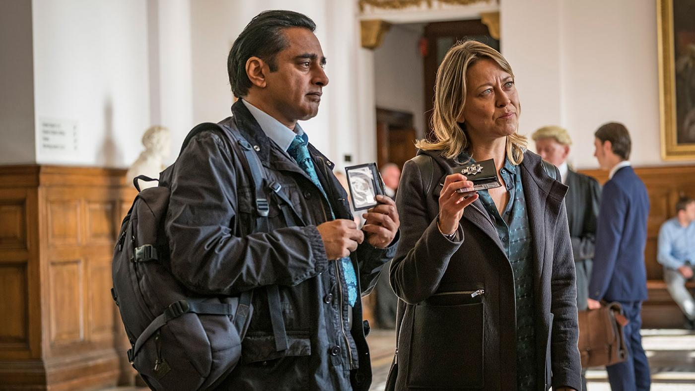 Nicola Walker as DCI Cassie Stuart and Sanjeev Bhaskar as DS Sunny Khan in Unforgotten. Photo: John Rogers/Mainstreet Pictures