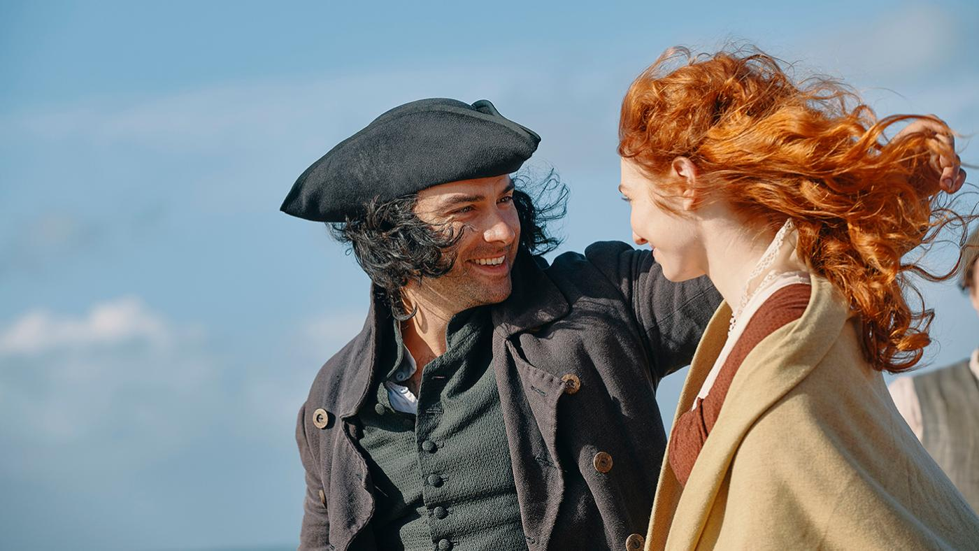 Aidan Turner as Ross and Eleanor Tomlinson as Demelza in Poldark. Photo: Mammoth Screen