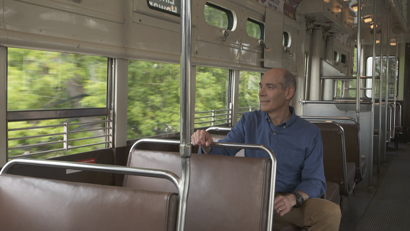 Geoffrey Baer riding a 6000-series CTA car from 1959 on the Purple Line