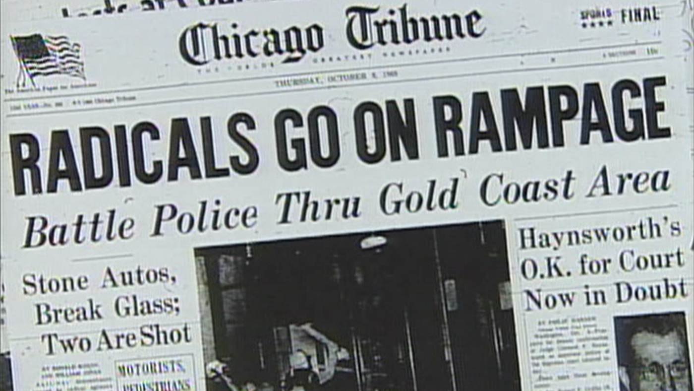 The Chicago Tribune from October 8, 1969, with a headline about the Days of Rage. Image: From WTTW's Chicago Stories