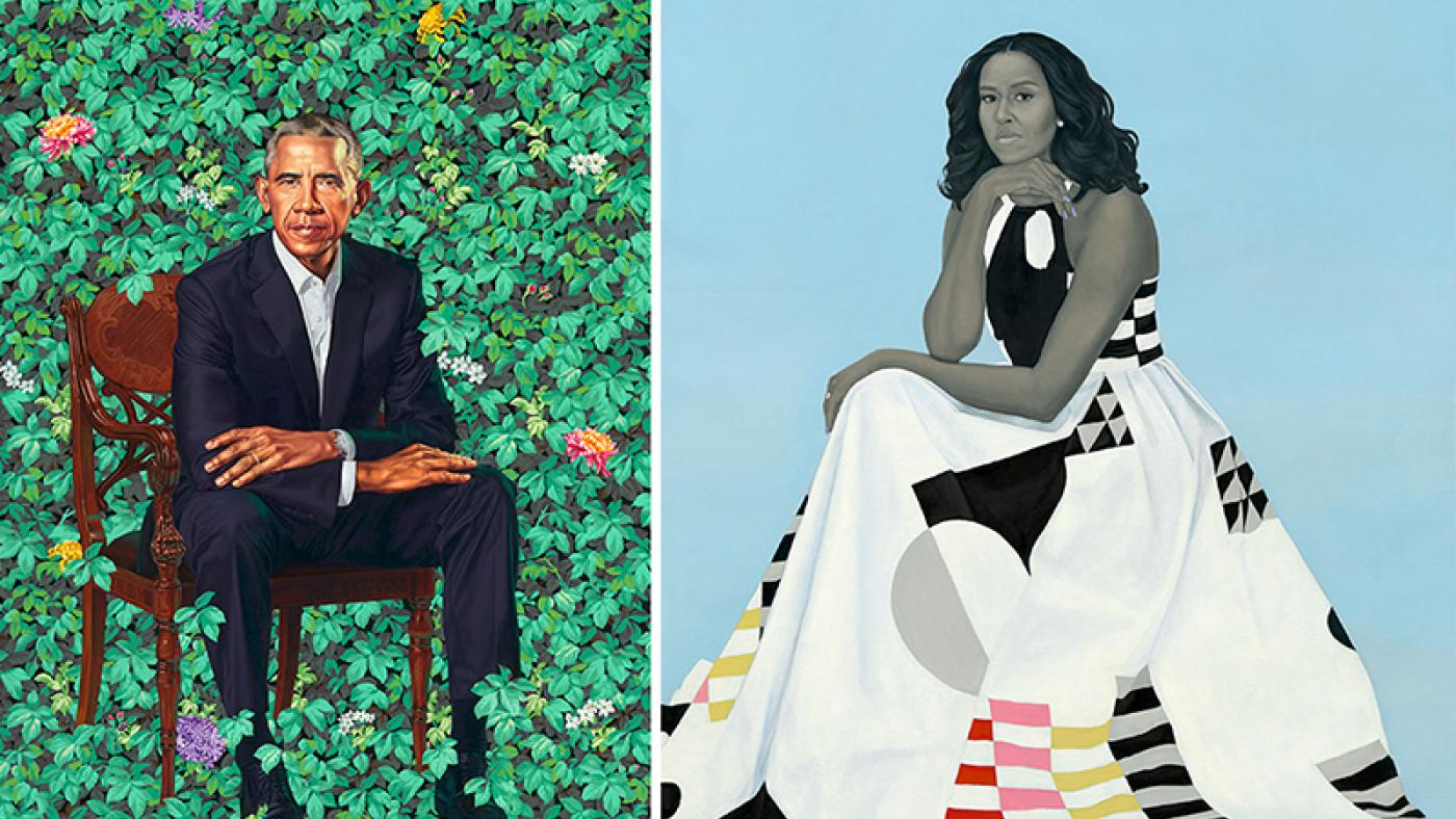 "(L): ""Barack Obama"" by Kehinde Wiley, oil on canvas, 2018. National Portrait Gallery, Smithsonian Institution. (R): ""Michelle LaVaughn Robinson Obama"" by Amy Sherald, oil on linen, 2018. National Portrait Gallery, Smithsonian Institution."