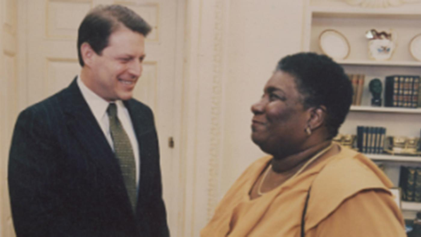 Hazel Johnson with Vice President Al Gore at the White House