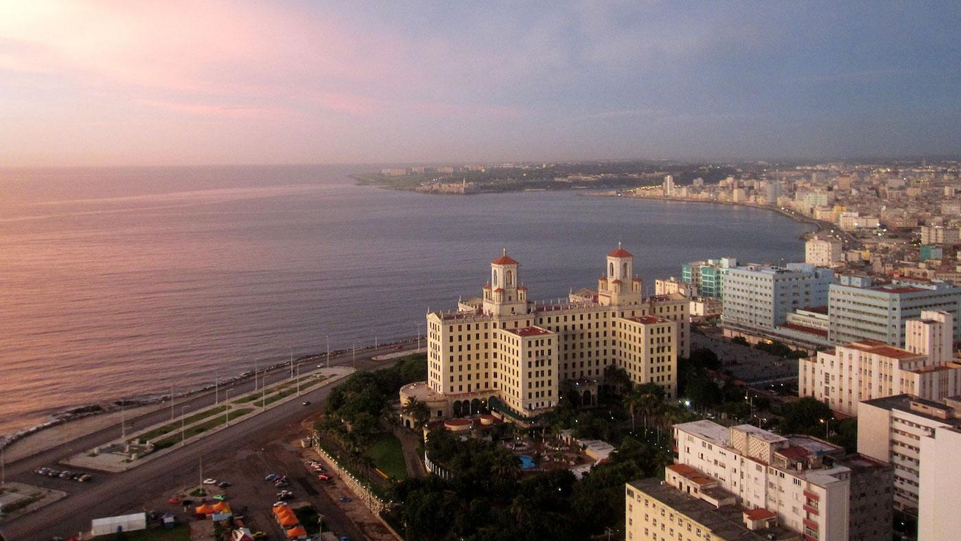 The sunset in Havana over Hotel Nacional. Photo: Simon Phillips for WTTW's 'Weekend in Havana.'