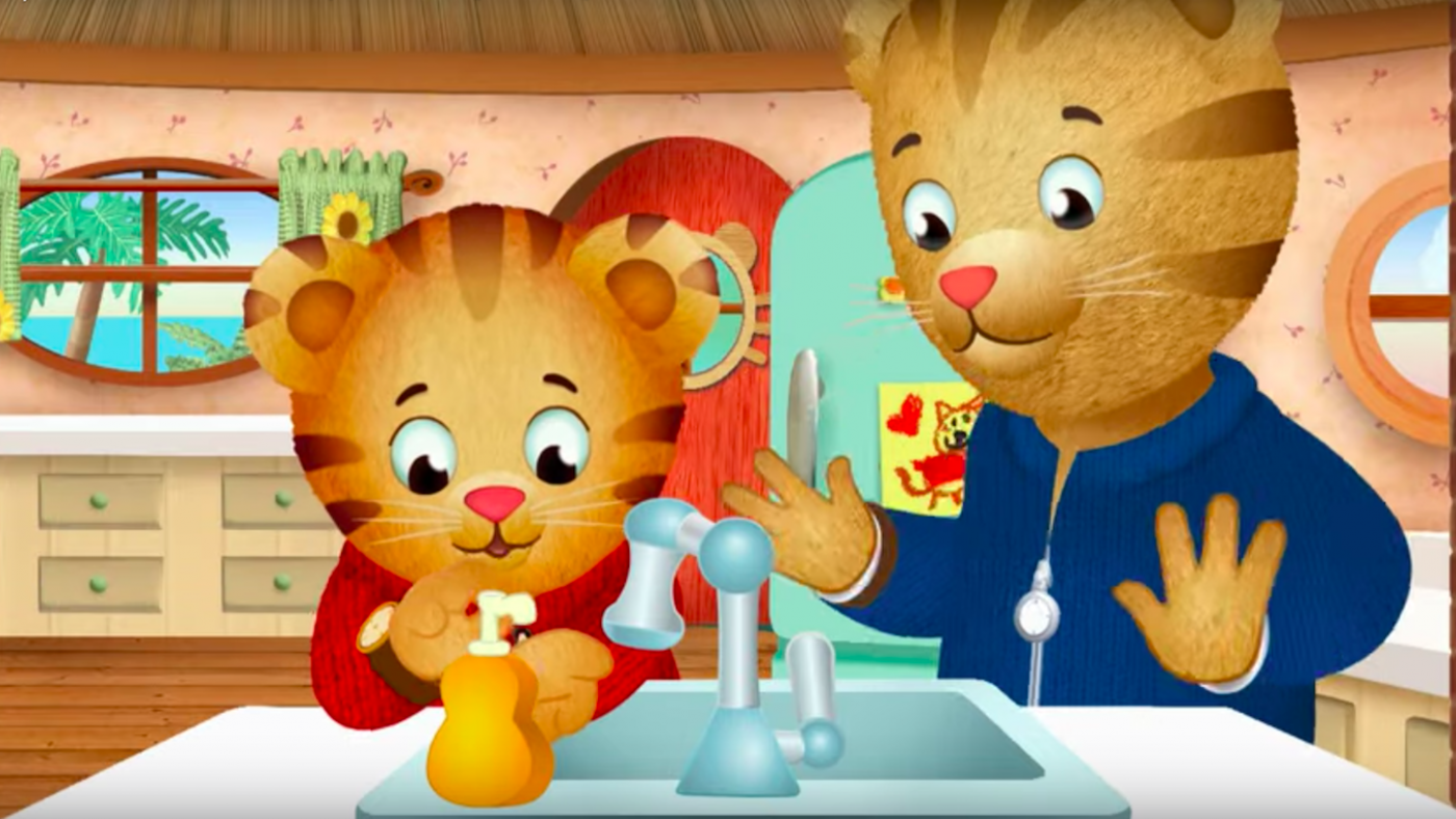 Daniel Tiger washing his hands