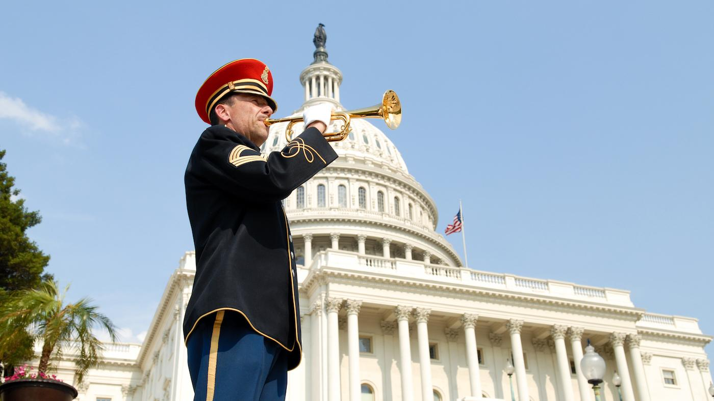 A bugler in front of the U.S. Capitol. Photo: Capitol Concerts