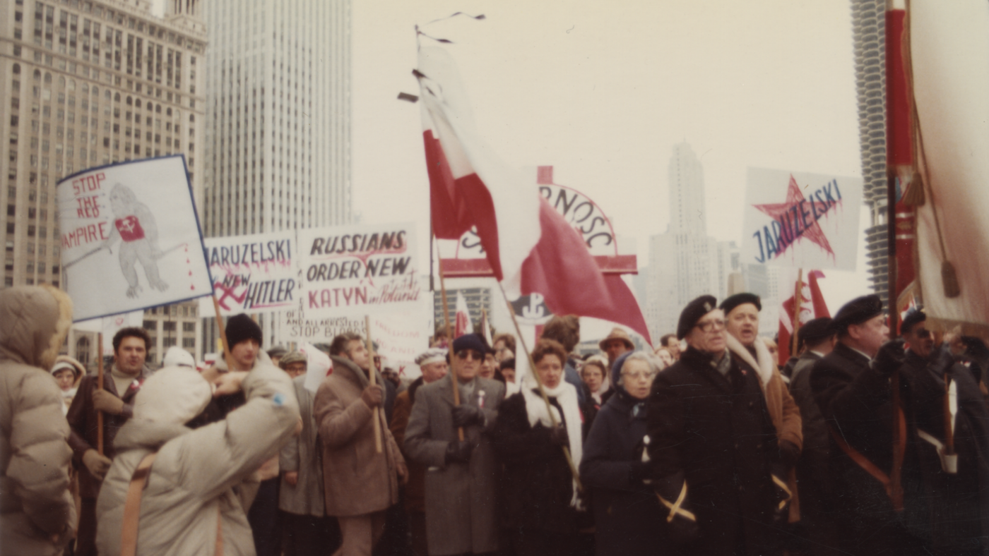 A demonstration in support of Poland's Solidarity in Chicago in December, 1981. Photo: K. Pecak/Polish Museum of America