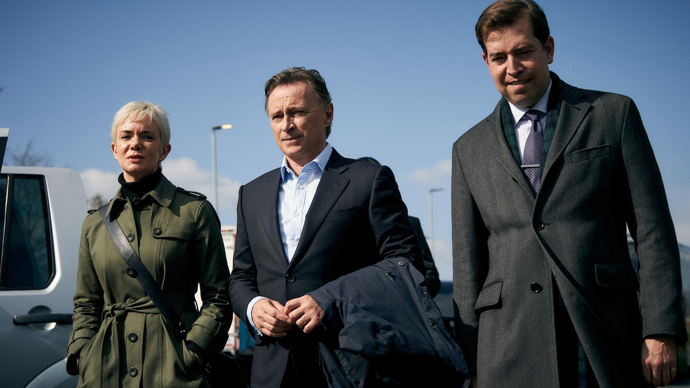 Anna, Robert, and Peter in 'COBRA.' Photo: Sky UK Limited