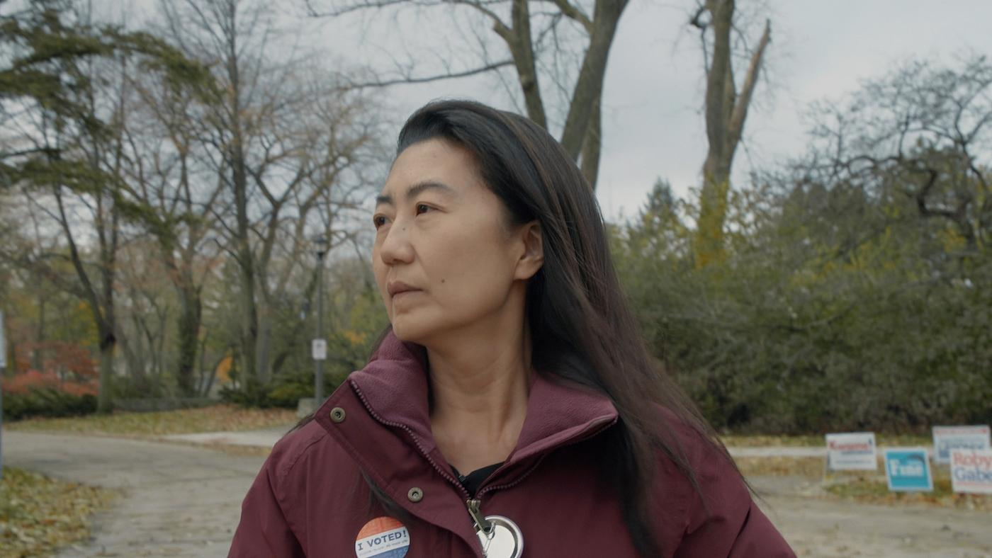 State Representative candidate Julie Cho votes on election day. Photo: Hillary Bachelder