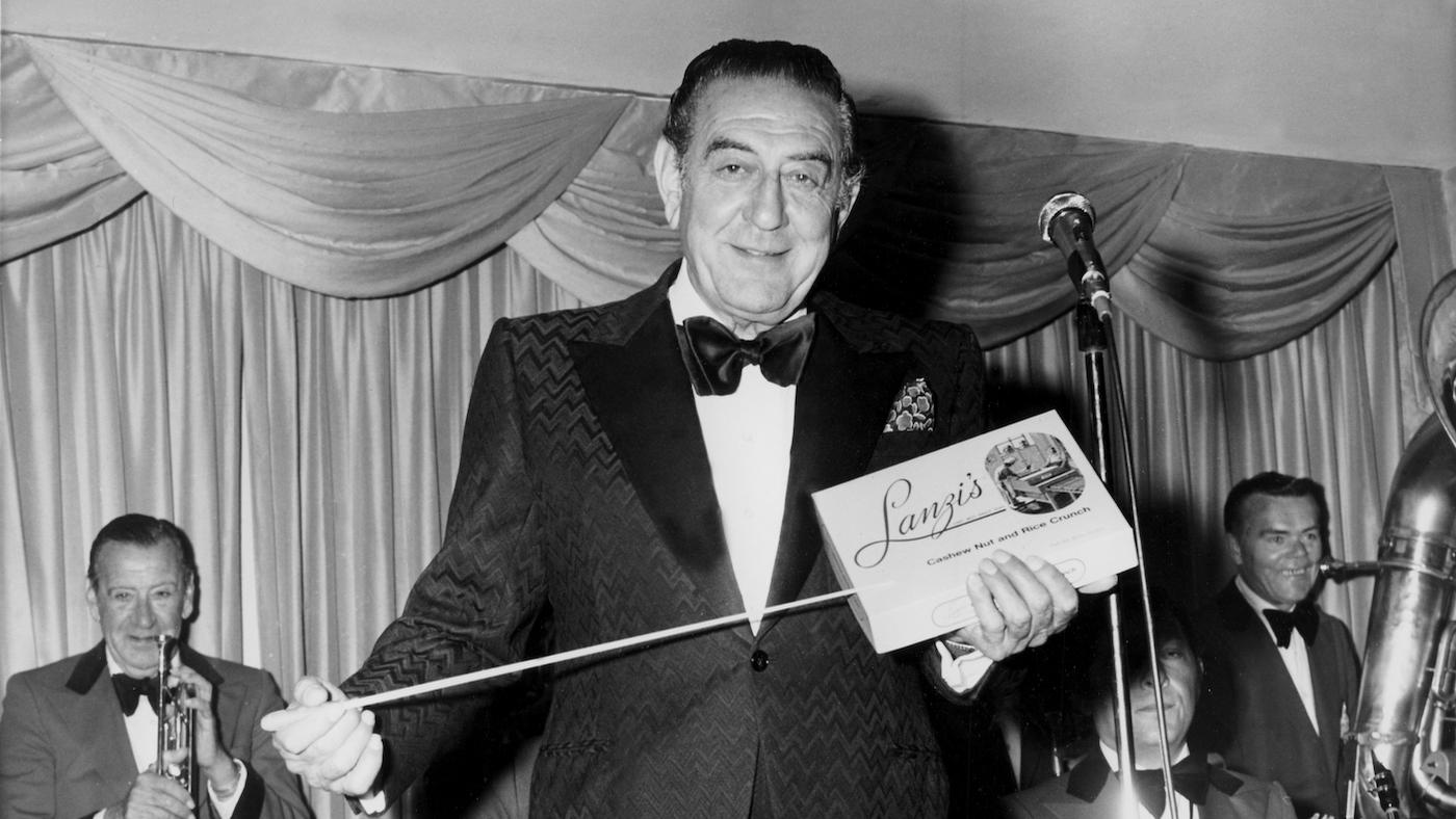 Guy Lombardo promoting Lanzi Candy's Cashew Nut and Rice Crunch. Photo: Courtesy Michael Lahey