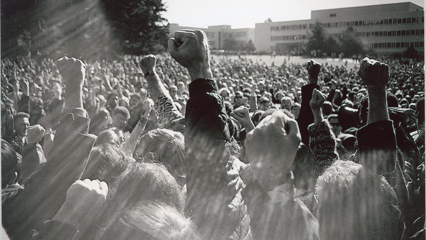 A protest at San Francisco State University in 1968