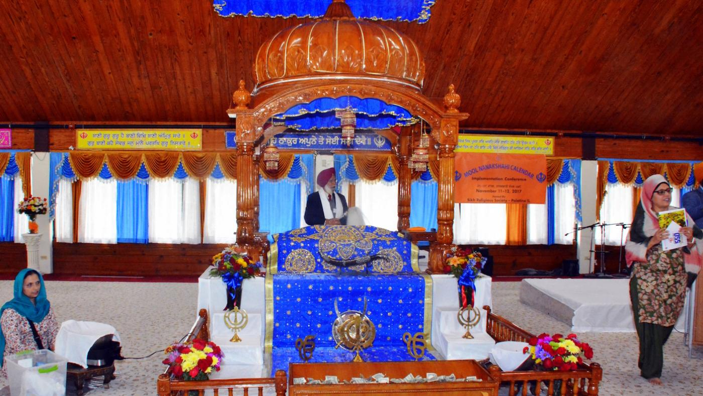 The interior of the Sikh Gurdwara in Palatine, Illinois, outside Chicago