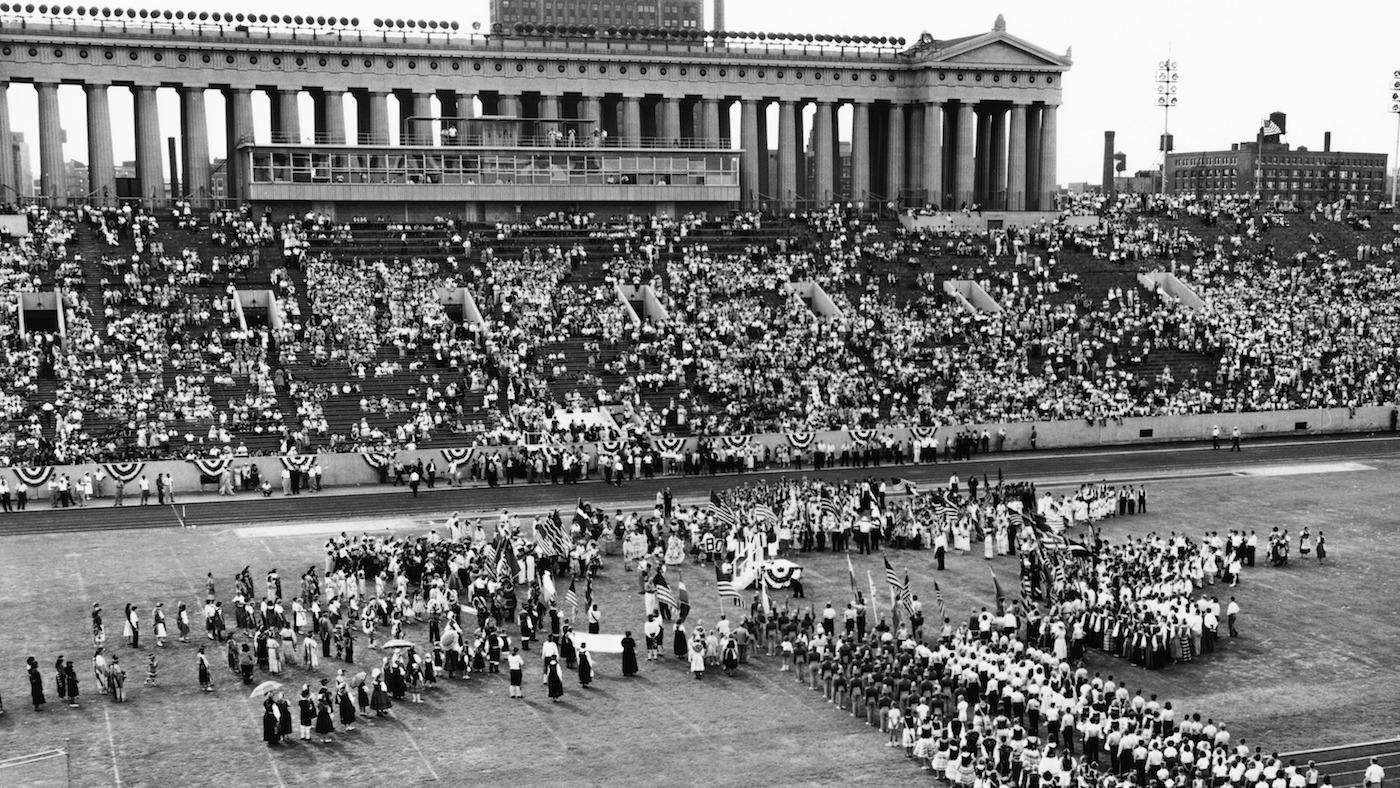 The August 27, 1959 opening day ceremonies of the 1959 Pan-American Games in Soldier Field. Photo: Chicago History Museum