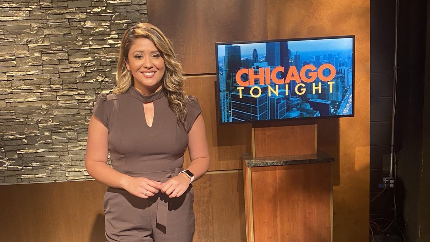Joanna Hernandez on the set of 'Chicago Tonight'