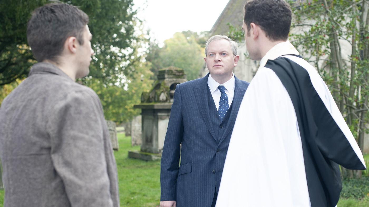 Will with Davy Connor and Marcus Asper in 'Grantchester.' Photo: Masterpiece and Kudos