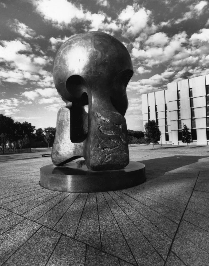 "A sculpture by Henry Moore called ""Nuclear Energy,"" which marks the site of Chicago Pile-1 on the University of Chicago's campus. (Photo courtesy University of Chicago)"