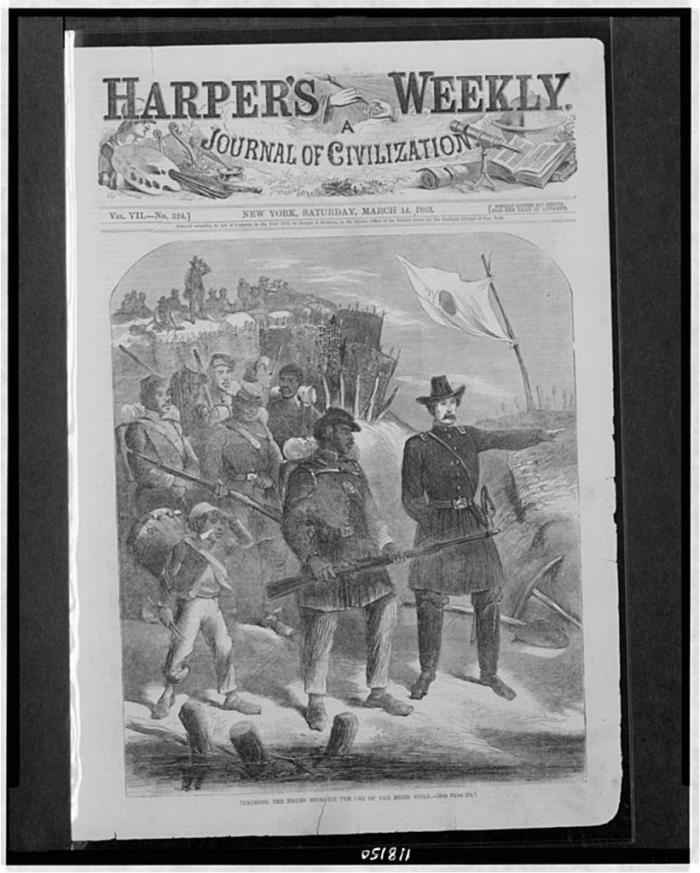 A cover of Harper's Weekly depicting an African American regiment in the Civil War. (Library of Congress)