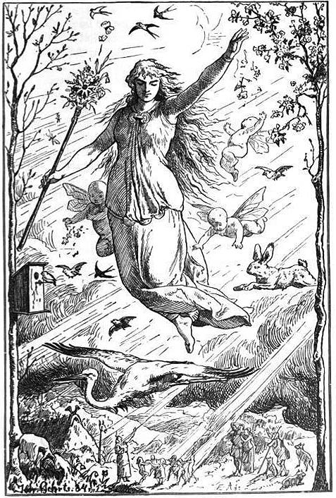 Ostara by Johannes Gehrts: the Germanic goddess is also known as Ēostre and may be the namesake for Easter.