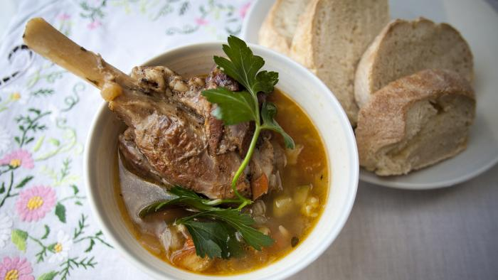Alice Waters's Soupe au Pistou with Lamb Shanks. Photo: Kait Hoehne