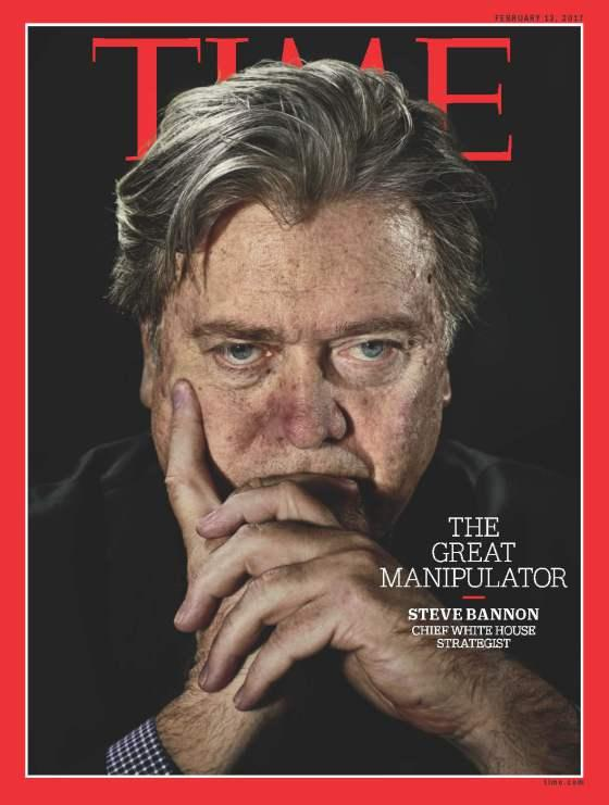 Steve Bannon on the cover of Time Magazine. Image: Copyright Time