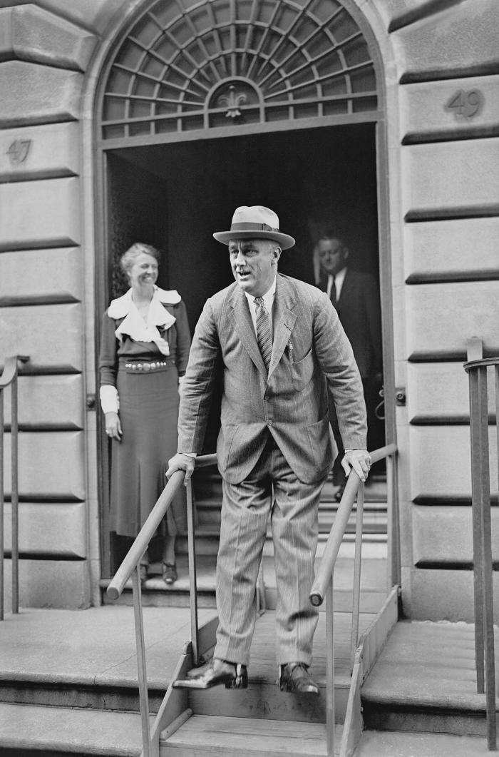 Franklin Roosevelt outside his Manhattan home in 1933. Photo: Courtesy of Roosevelt House