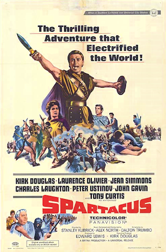 Kirk Douglas on the poster for 'Spartacus.'