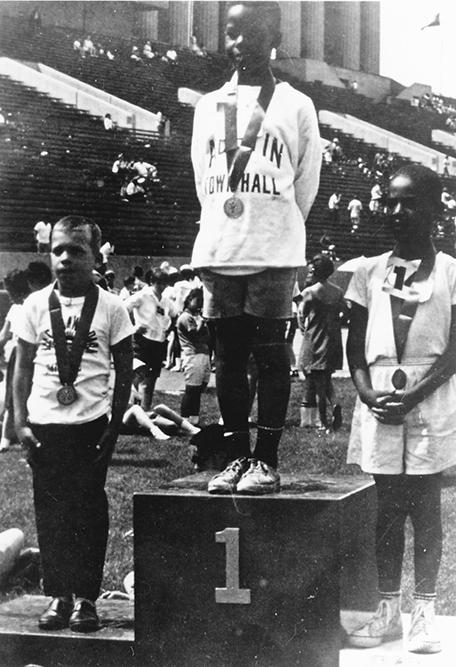A medal ceremony during the first Special Olympics