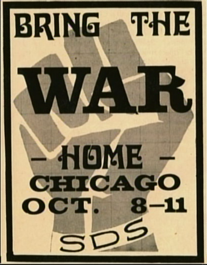A Students for a Democratic Society poster advertising the 1969 Days of Rage in Chicago. Image: From WTTW's Chicago Stories