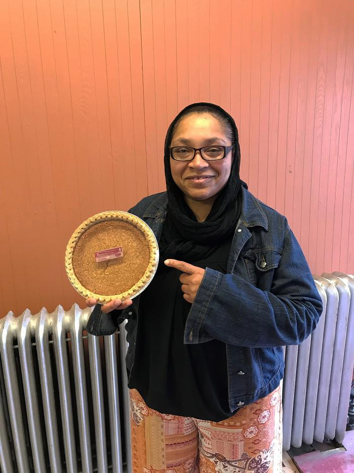 Imani Muhammad with one of her bean pies
