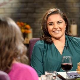 Alpana Singh on the set of Check, Please! Photo: WTTW/Ken Carl