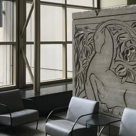 A sculptural panel of Aries by Eugene and Gwen Lux depicting Aries that originally decorated the facade of the McGraw-Hill Building and is now located in the Shops at North Bridge