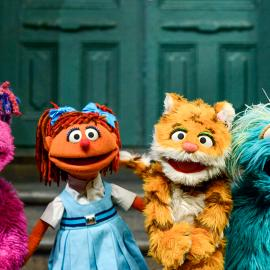 Takalani Sesame's Zuzu, Galli Galli Sim Sim's Chamki, China's Lily, and Rosita on Sesame Street. Photo: Zach Hyman/Sesame Workshop