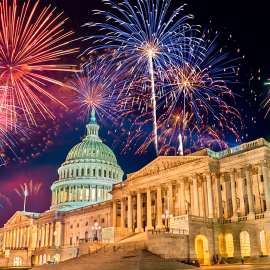 Fireworks over the US Capitol. Photo: Leonid Andronov/Alamy Stock Photo