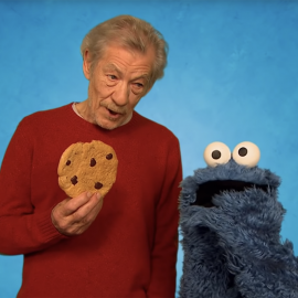 Ian McKellen with Cookie Monster