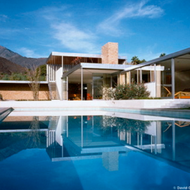 Neutra's Kaufmann House view from the pool area.