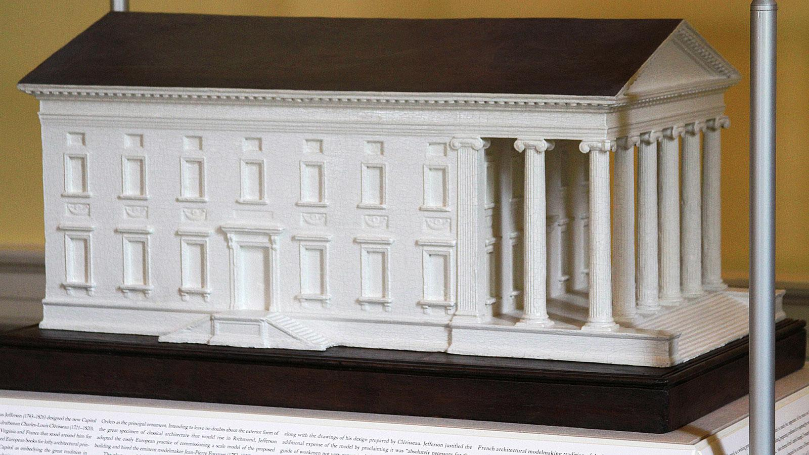 jefferson commissioned a 160 scale model to be sent back to richmond that original plaster model remains on display in the virginia state capitol today - Roman Design Architecture