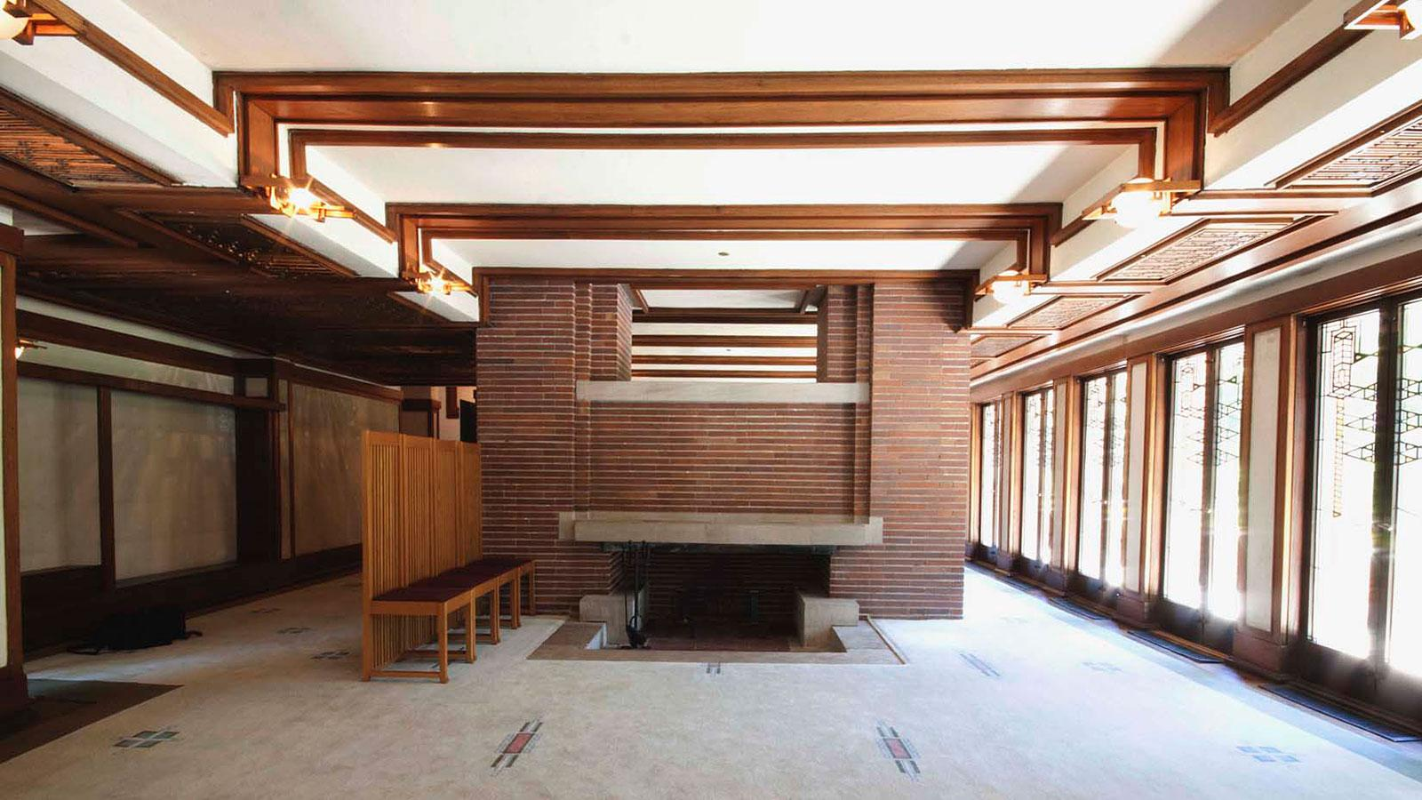 Robie house interior Frank lloyd wright the rooms interiors and decorative arts