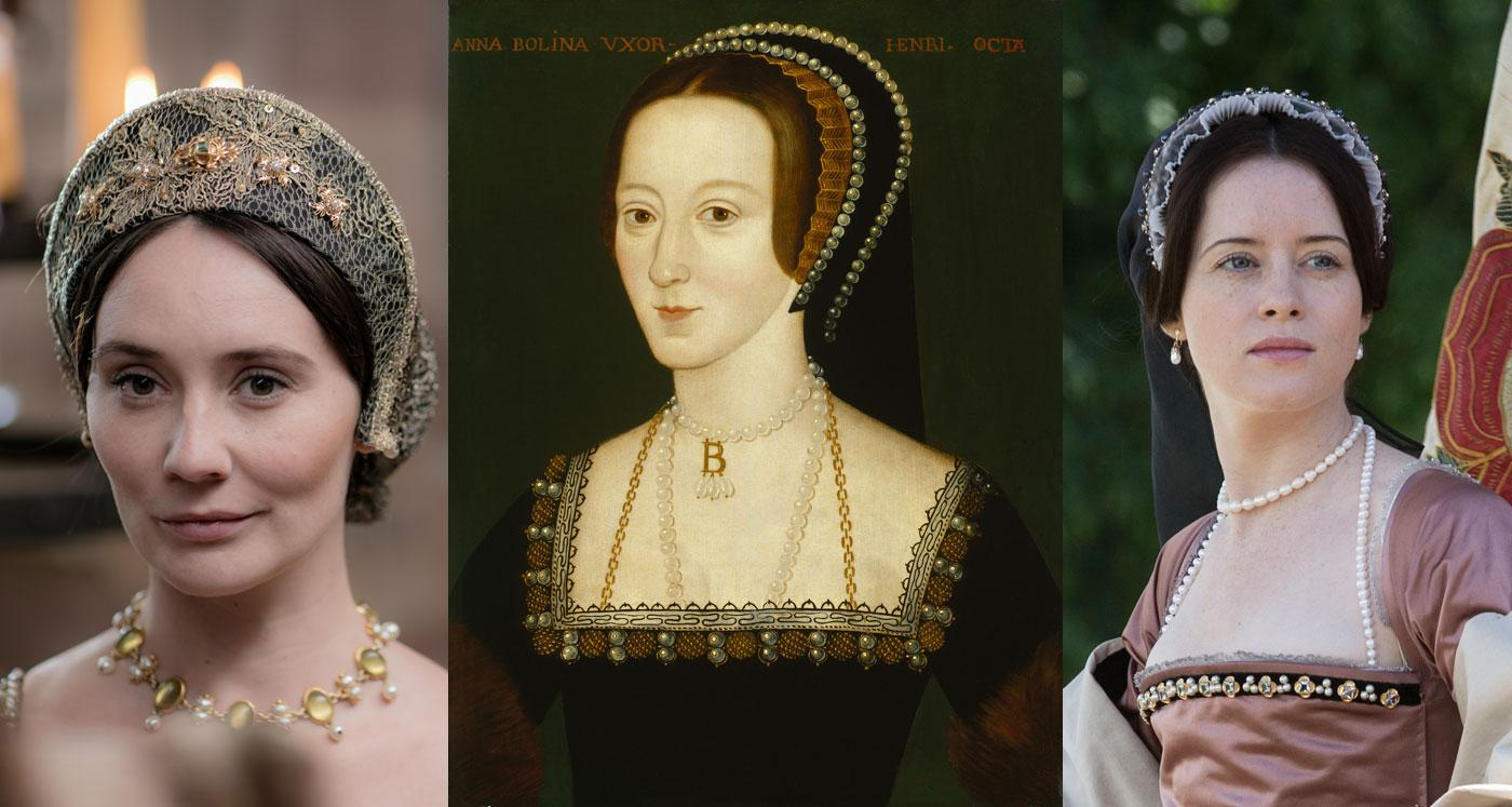 Anne Boleyn: Claire Cooper in Secrets of the Six Wives and Claire Foy in Wolf Hall. (Laurence Cendrowicz / © Wall to Wall South Ltd; Ed Miller/Playground & Company Pictures for MASTERPIECE/BBC)