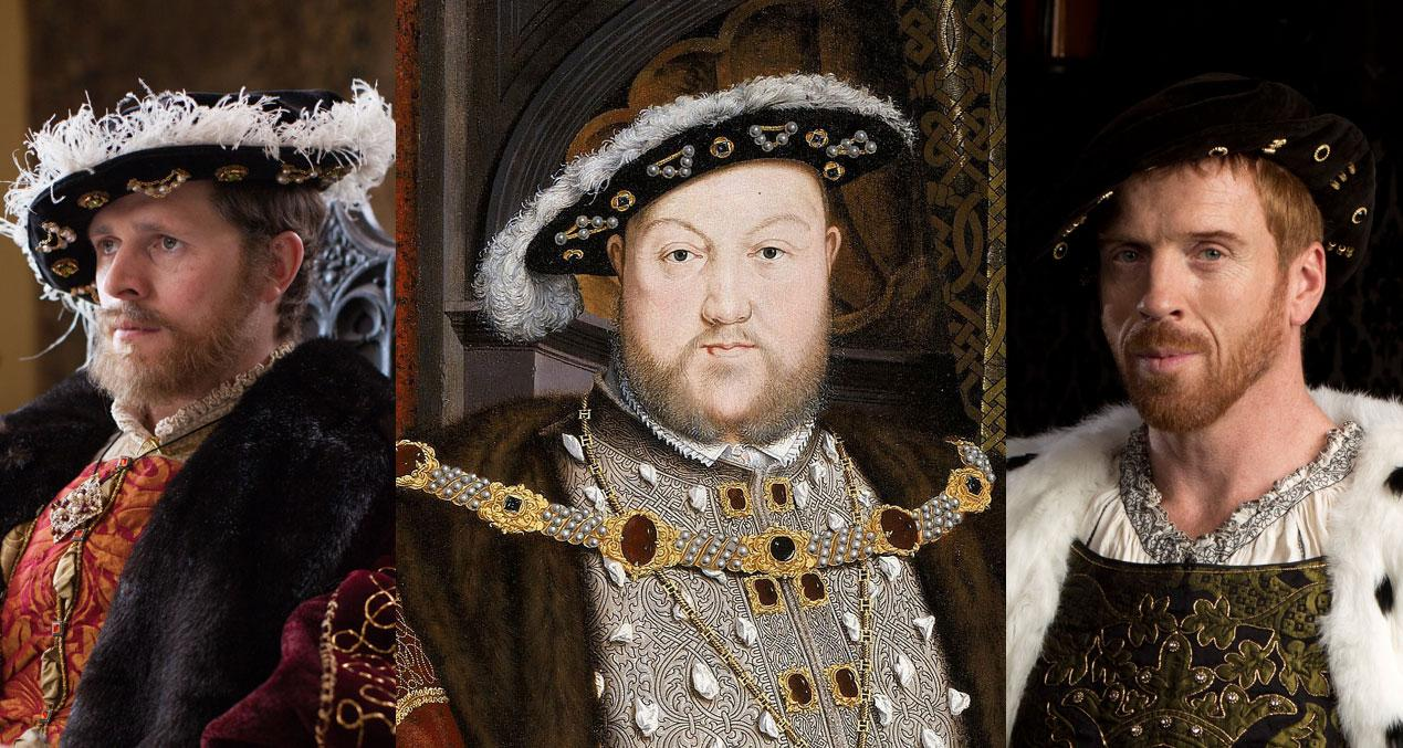 King Henry VIII, the man with all the wives: Scott Arthur in Secrets of the Six Wives, and Damian Lewis in Wolf Hall. (Laurence Cendrowicz / © Wall to Wall South Ltd; Giles Keyte/Playground & Company Pictures for MASTERPIECE/BBC)
