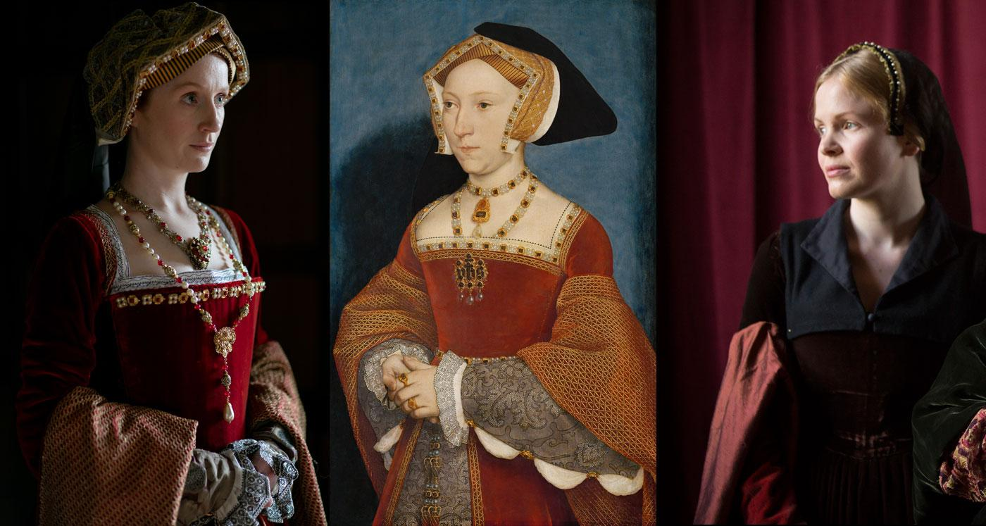 Jane Seymour: Elly Condron in Secrets of the Six Wives and Kate Phillips in Wolf Hall. (Laurence Cendrowicz / © Wall to Wall South Ltd; Ed Miller/Playground & Company Pictures for MASTERPIECE/BBC)