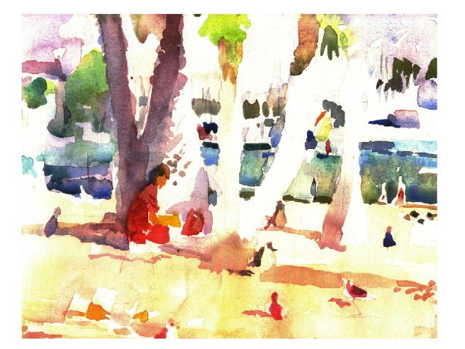 A watercolor by Milton Quon.