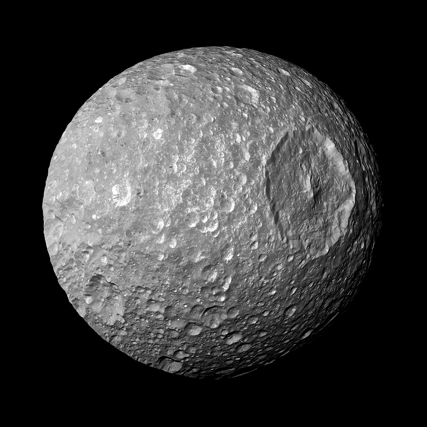 Saturn's moon Mimas looks like the Death Star from 'Star Wars.' Image: Courtesy NASA/JPL/Space Science Institute
