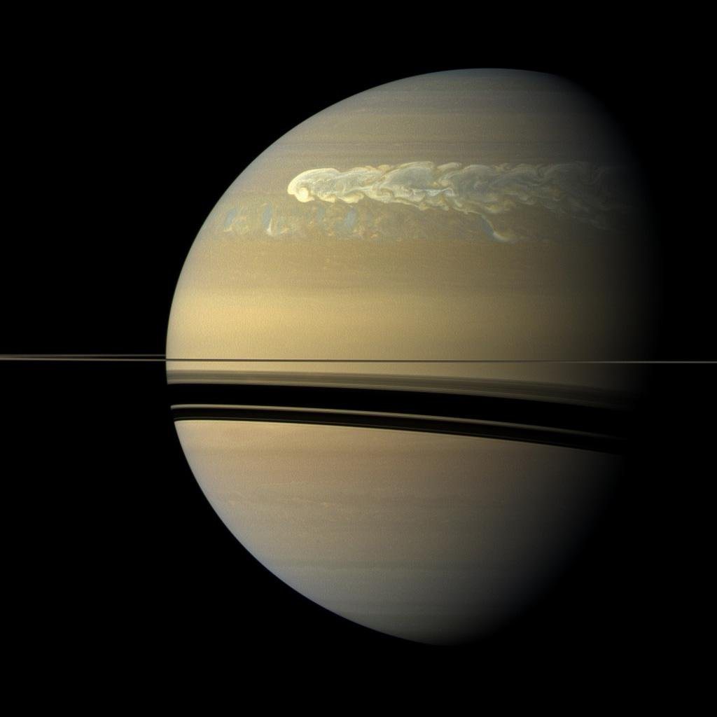 Cassini observed a massive storm that encircled the entirety of Saturn. Image: Courtesy NASA/JPL-Caltech/SSI