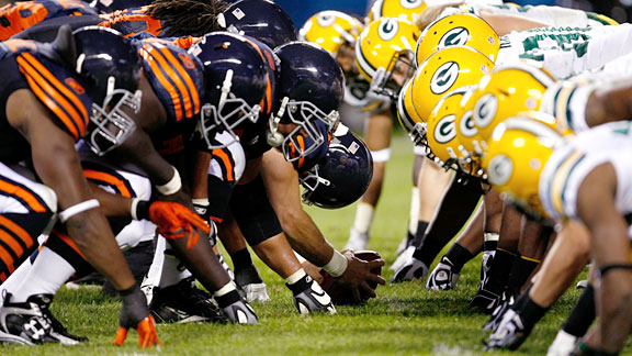 The Chicago Bears versus the Green Bay Packers