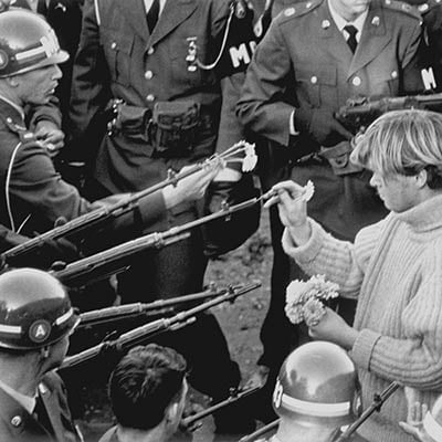 Military police block antiwar demonstrators in front of the Pentagon. October 26, 1967. Photo: The Washington Post/Getty Images