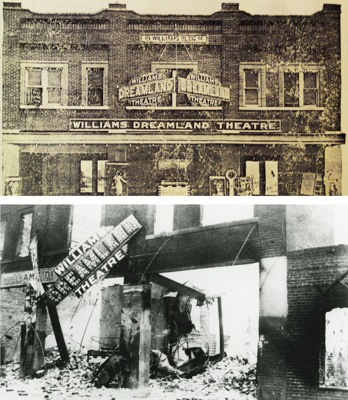 Williams Dreamland Theatre, 127 N. Greenwood, before and after the riot