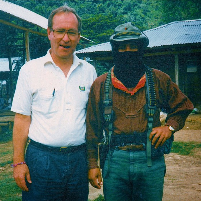 Father Chuck with subcom chico in chiapas
