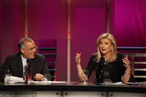 David Brooks and Arianna Huffington